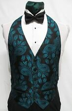 Boys Size Large Teal Green & Black Paisley Tuxedo Tux Vest & Bowtie Cheap Formal