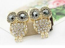 2016 New Luxury Cute Lady Shiny Crystal Rhinestone Lovely Owl Earrings