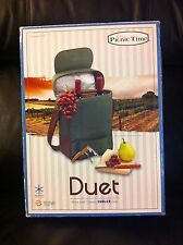 NEW IN BOX PICNIC TIME DUET INSULATED WINE TOTE COOLER BURGUNDY PICNIC BASKET