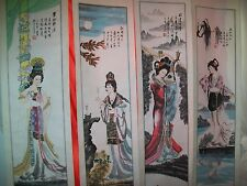 The Four Most Beautiful Chinese Women Ever Paintings ORIGINALS on Rice Paper NEW