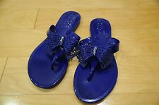 Authentic Salvatore Ferragamo Pandy Jelly Bow Flip Flops Sandal Blue Size 10
