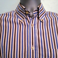 HACKETT Striped Shirt 100's Two Ply Size Small Long Sleeve