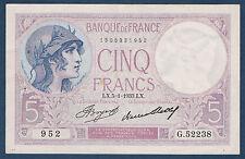 FRANCE - 5 FRANCS VIOLET Fayette n° 3.17 du 5=1=1933.LX en SUP   G.52238  952