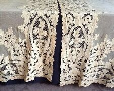 "pair Antique Battenburg Tape Lace Curtains 96"" long 52"" wide estate fresh"