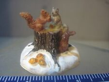 SQUIRREL  WELL ACTUALLY MINIATURE SNOW VILLAGE SCENE SQUIRRELS ON THE STUMP