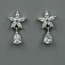 18K White Gold Plated Cubic Zirconia CZ Flower Wedding Bridal Drop earrings 4112