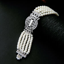 ZARA ELEGANT 5 ROWS PEARLS VINTAGE DECO LOOK BRACELET - NEW