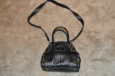 Alexander McQueen Manta Stud Leather Zip Top Black Womens Shoulder Strap Handbag