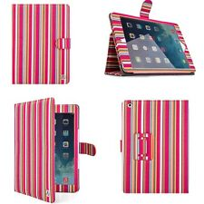 Pink Stripe Magnetic Portfolio Stand Case Flip Smart Cover for Apple iPad Air 2