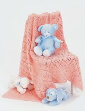 KNITTING PATTERN - PRETTY DIAMOND MOTIF  BABY BLANKET/SHAWL/THROW