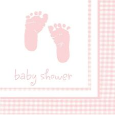 Pink Baby Girl Footprints Plaid Luncheon Napkins  (16) - Shower Party Supplies
