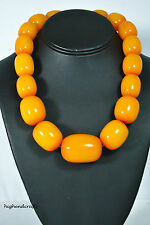 """ETHNIC BOLD AMBER COLOR HONEY RESIN HANDMADE NECKLACE 21"""" best selling"""