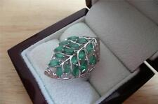LARGE GREEN EMERALD 925 STERLING SILVER LEAF DESIGN RING SIZE R US SIZE 9
