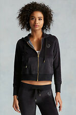 NEW TRUE RELIGION $149 BLACK VELOUR CROPPED ZIP UP HOODIE JACKET XS EXTRA SMALL