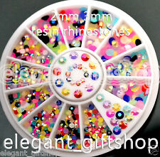 #ER49 Nail Art Tips Decoration 2mm 3mm Mixed Color Glitter Resin AB Rhinestones