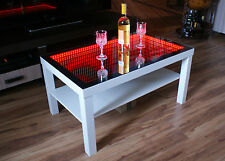 Table LED 3D Coffee Table Illuminated INFINITY MIRROR Tunnel Effect Remote RF!