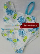 American Girl 2 piece Swim Suit Julie's Surf Bikini XS wht and turquoise floral