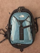The North Face Surge backpack bookbag light blue/gray VGUC w/ laptop compartment