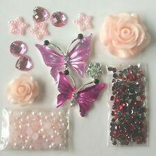 W78A Butterfly Rose DIY Mobile Cell Phone Case Bling Alloy Crystal Deco Den Kit