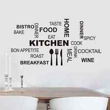 Modern Kitchen Typography Art Quote Wall Sticker for Creative Dining Room Decor