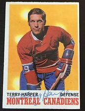TERRY HARPER SIGNED 1970-71 HOCKEY CARD,Montreal Canadiens,Kings,Red Wings,Blues
