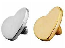 G23 Titanium Heart Dermal Head Top Flat 4mm Micro Dermal Anchor Surface Piercing