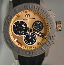 New Mens Technomarine 515005 Reef Swiss Chrono Gold Tone Dial Silicone Watch