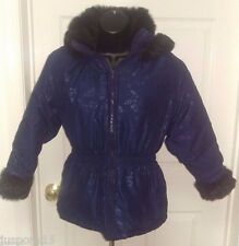 Izzi Urban Kids S. Rothschild Girl's Blue Floral w/ Black Faux Fur Jacket Size M