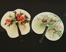 Vintage style Asian Oriental Chinese Birds & Blossoms Paper Folding Hand Fan