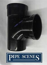"Solvent 110mm Soil Pipe Swept Tee Branch Double Socket - Black Glued 4"" ABS Vent"