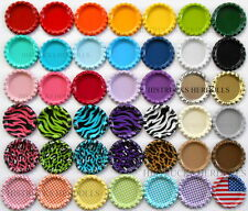"""100  1"""" MIX NEW FLAT DOUBLE SIDED LINERLESS BOTTLE CAPS YOU CHOOSE MIX FLATTENED"""