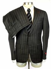 NWT ISAIA Gregory Charcoal Stripe Super 130's 2Btn Flat Front Suit 54 44 44R 42R
