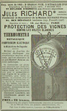 PARIS MELINGUE JULES RICHARD THERMOMETRE PUBLICITE PROTECTION DES VIGNES 1905