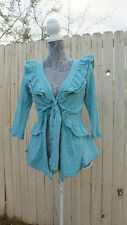 Anthropologie Moth Blue Ruffle Cardigan Size M Medium Frilly Sweater Spring