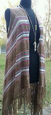 UMGEE USA striped vest duster long open kimono- asymmetrical hemline  M/L
