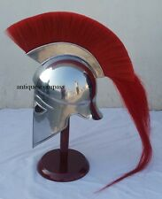 Medieval Hollywood Costume Armor Roman Greek Corinthian Helmet W Red Plume Helm