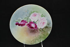 JPL Limoges Hand Painted Plate Red Pink Roses Signed B.W.Olds 8 1/2""