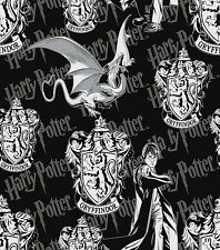 HARRY POTTER GRYFFINDOR CREST PRINT BLACK 100% COTTON FABRIC BY THE 1/2 YARD
