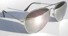 AVIATOR SPECCHIO OCCHIALI da Sole Cromo Argento Metallo UV400 LENTI IN VETRO migliore qualità superiore
