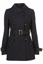 New TOPSHOP belted double breasted coat UK 16 in Navy Blue