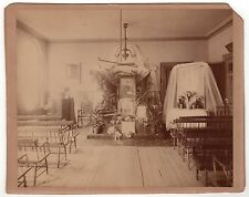 1880s FUNERAL MASS Cabinet Photo MEMORIAL Death MORBID Macabre SERVICE Flowers