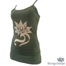 Fair Trade Soft Rayon Hand Dyed Lotus OM Yoga Tank Top Olive Green Size M / L
