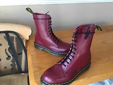 Dr Martens 1490 Cherry red leather boots UK 9 EU 43 skin punk biker