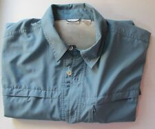 White Sierra Button Front Vented Mesh Lined shirt Pockets Mens L Outdoor Weather