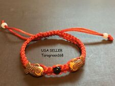 Red String Double Fishes Womens Bracelet Lucky Fortune Money Handmade, ADJUST
