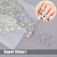 1000 Super Shiny Nail Art Flatback Crystal AB Resin Round Rhinestone Beads 4mm