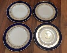 """Hermoso Conjunto De 4 Royal Worcester Regencia Cobalto 8"""" platos para ensalada-borde liso"""