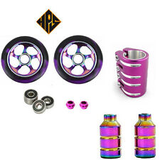 STUNT SCOOTER SET 2 110mm NEO METAL CORE WHEELS ABEC 11 BEARING PEGS QUAD CLAMP