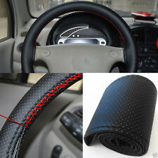 Synthetic Leather DIY Car Steering Wheel Cover Needle and Thread Black Protect