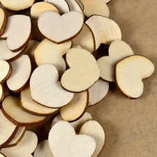 Lot 100Pcs Wooden Unfinished Wooden Love Heart Wedding Art Craft Embellishment